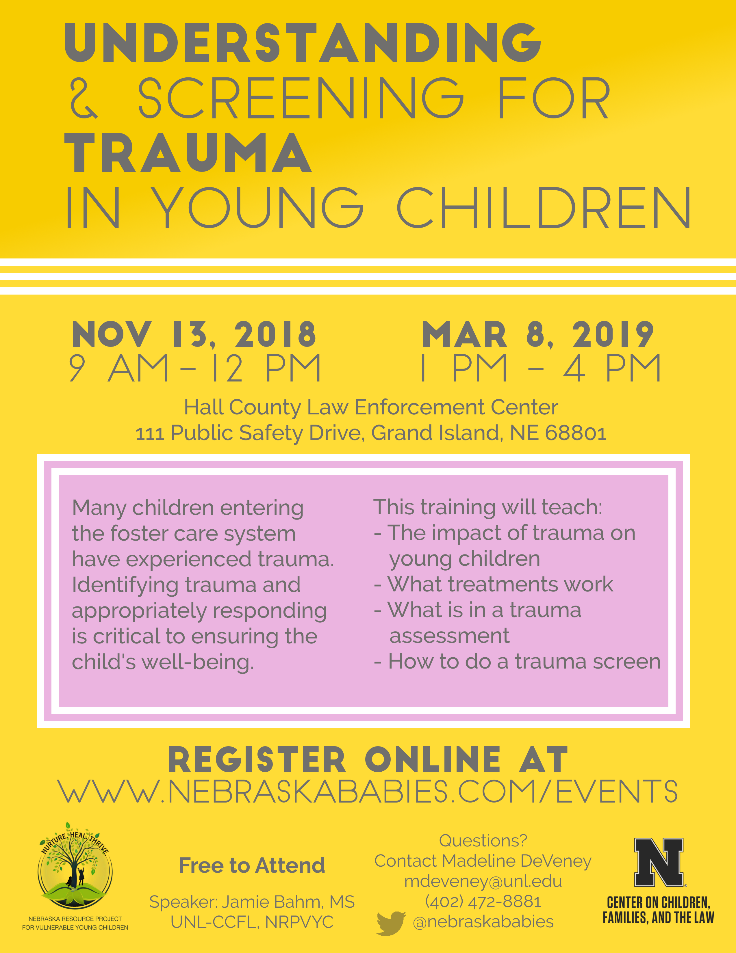 Flyer for two Trauma Trainings in Grand Island, Nebraska
