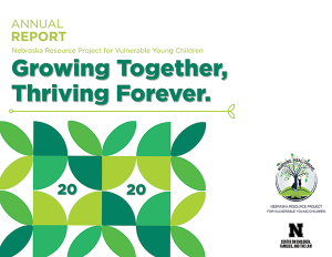 """The front page of the 2020 NRPVYC Annual Report. The title reads """"Growing Together, Thriving Forever"""" in large green font. Below the title is a stylized depiction of leaves with 2020 embedded in the leaves."""